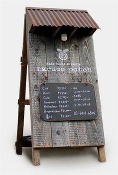 maruco potch – Shop Sign 三軒茶屋の美容室「maruco potch (マルコポッチ)… Menu Signage, Signage Design, Signage Display, Cafe Design, Farmers Market Display, Restaurant Signs, Rustic Restaurant, Entrance Design, Coffee Signs