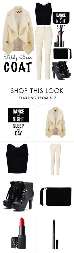 """teddy coat"" by hanasyalala ❤ liked on Polyvore featuring Burberry, Ralph Lauren, Marc Jacobs, NARS Cosmetics and Stila"
