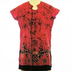 "Batik Long Blouse - Pink with Black (Small) 40"" $40"