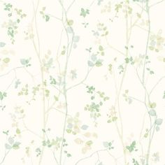 Spring Twig wallpaper from the collection ECO Nature with a beautiful floral pattern in Scandinavian style. Magnolia Wallpaper, Lit Wallpaper, Wallpaper Direct, Green Wallpaper, Painting Wallpaper, Nature Collection, Design Blog, Watercolor Cards, Cat Art