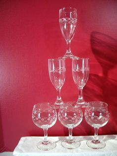 Cordial Wine Glasses Mid Century Modern Vintage Etched Dashes And Dots Lot of 6