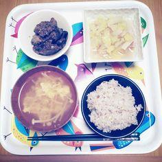 2012*12*19 鶏レバーの醤油麹煮。白菜とベーコンの白だし煮。えのきのかき玉汁ネギがなかた。てきとーご飯w