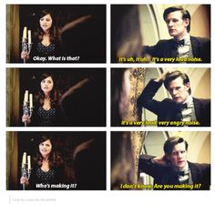 """Clara Oswald and The Eleventh Doctor: Hide. """"It's a very loud noise."""" """"Who's making it?"""" """"I don't know. Are you making it?"""""""