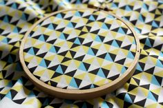 Modern Quilt Geometric Triangle Fabric - yellow blue grey. Boosterseat.