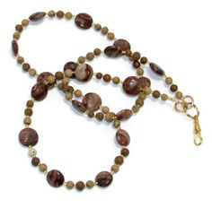 Simple & Lovely Brown Zebra Stone Eyeglass or ID Badge Necklace by nonie615, $20.00 Includes Free 1st Class USPS shipping.