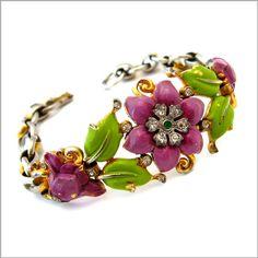 Vintage TRIFARI 1939 Enamel Rhinestone Flower Bracelet - Design Patent