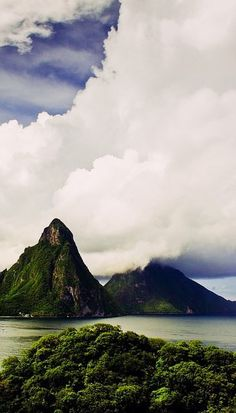 St. Lucia >>> so beautiful! Look at those clouds! I could spend a day just watching them. :)