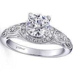 Vintage Design Pave Diamond Engagement Ring