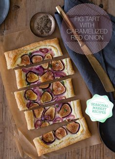 "Fig Tart with Caramelized Red Onions  Makes 1 tart    Ingredients:  2 tablespoons unsalted butter  ½ red onion, thinly sliced  1 ½ teaspoons light brown sugar  4 ounces goat cheese, softened  1 orange, zested  1 sheet puff pastry, thawed and cut into a 9""x 6"" rectangle  5-6 figs, stems removed and sliced  2 teaspoons thyme, minced  salt and pepper to taste"