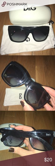 Dolce & Gabbana sunglasses Classic D&G sunnies from several years back. Black rectangular frame with slight cat eye shape. Dolce & Gabbana Accessories Sunglasses