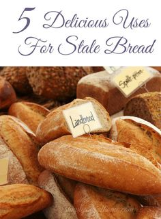 Have you ever found yourself in a situation where you have too much bread at home? Did you go grocery shopping and get enticed by the displays of raisin bread, baguettes, sourdough or brioche?  If you find yourself in this position and don't want to waste the bread, here are five delicious uses for stale bread.  5 Delicious Uses For Stale Bread | Simple Joys Of Home