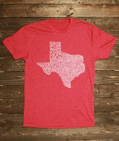 "Texas BBQ Shirt Cardinal Red - Created for ""The Prophets of Smoked Meat"" by Daniel Vaughn -   202 of the best Texas BBQ joints from the book handwritten on the shirt!"