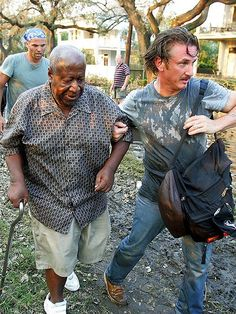 Sean Penn rescued Hurricane Katrina victims. When the activist actor heard about the plight of tens of thousands of stranded New Orleans residents after Hurricane Katrina struck in September 2005, Sean Penn sprung into action, speeding down to the Crescent City and personally helped rescue an estimated 40 people stuck on roofs amid the floodwaters.: