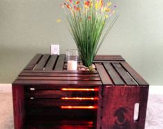 Wood Crate Coffee Table - accented with inner chamber lighting