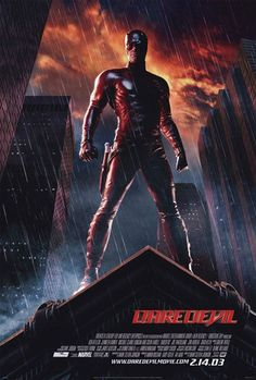 From the Daredevil Soundtrack Full Track List: Won't Back - Fuel For You - The Calling Bleed For Me - Saliva Hang On - Seether Learn The Hard . Ben Affleck, Superhero Movies, Marvel Movies, Superhero Poster, Jennifer Garner, Daredevil 2003, Love Movie, Movie Tv, Drowning Pool
