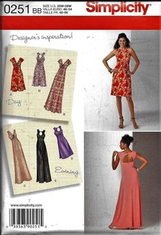 4b18b9a3910 Simplicity 0251 Designer s Inspiration Day Or Evening Halter DRESS Sewing  Pattern UNCUT Plus Size 20