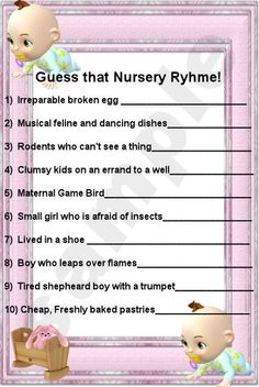 Starla's Design and E Cards Baby Shower Games Finish the Nursery Rhyme