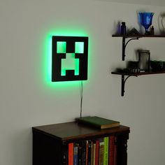 Minecraft Creeper Lamp Lighted Minecraft Logo Sign & by LuxChroma - I'm wondering if having something glowing like this at night would cause nighmares? Minecraft Room, Minecraft Bedroom Decor, Minecraft Party, Minecraft Decorations, Gamer Room, Kids Bedroom, Bedroom Ideas, New Room, Logo Sign