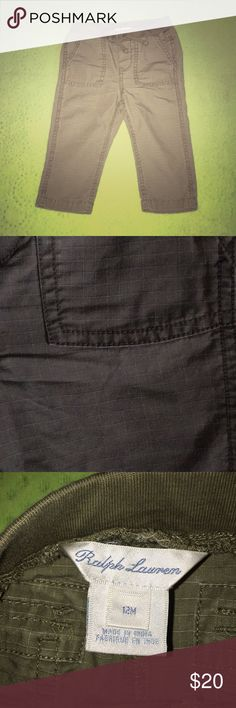 NWOT Ralph Lauren Ripstop Dusty Olive Chinos 12mos NWOT Ralph Lauren Ripstop Dusty Olive Chinos 12mos with Faux drawstring waistband ties and elastic waistband. Square cargo-style pockets at top sides. Very versatile color. Cool ripstop design for stitching. Make an OFFER!!! Ralph Lauren Bottoms
