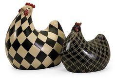 S/2 Herrick Black and White Chickens on OneKingsLane.com