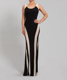 Look at this #zulilyfind! Black & Nude Sheer Inset Sleeveless Dress #zulilyfinds
