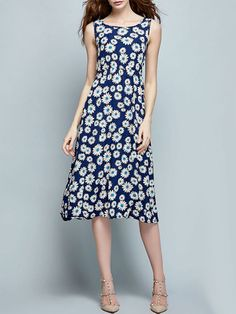 Floral Printed Exquisite Sunflower Maxi Dress #Dresses, #Fashion, #MaxiDresses, #Womens
