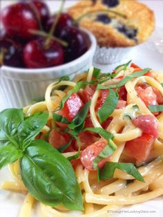 Marinated Brie Tomato & Basil Linguine. Easy main dish. Hot linguine melts the brie, creating an unforgettably light and flavorful sauce. Summer in a dish!