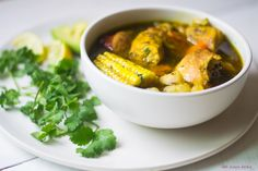 Dominican Sancocho Recipe is a hearty three meat stew filled with robust flavors of sazon, adobo and packed with hearty bites of yucca, plantain and corn. Cuban Recipes, Soup Recipes, Chicken Recipes, Chicken And Plantains Recipe, Dominican Sancocho Recipe, Sausage Stew, Plantain Recipes, Colombian Food, Best Comfort Food