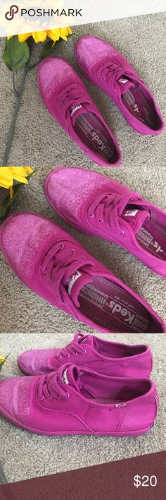 Keds Glitter Toe Shoes Deep pink with glitter toe detail. Worn for a week. Freshly washed. Keds Shoes Sneakers