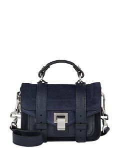 Proenza Schouler Suede Mini Crossbody In Navy Blue Suede, Shoulder Strap, Shoulder Bags, Proenza Schouler, Luxury Branding, Messenger Bag, 3 D, Satchel, Navy Blue