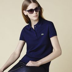 Women Casual Polo Shirt Navy Blue