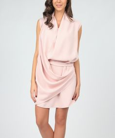 Look at this Light Pink Drape Sleeveless Dress on #zulily today!