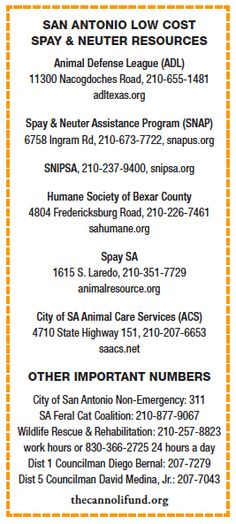 San Antonio, Texas Low Cost Spay Neuter and Animal Welfare Resources.