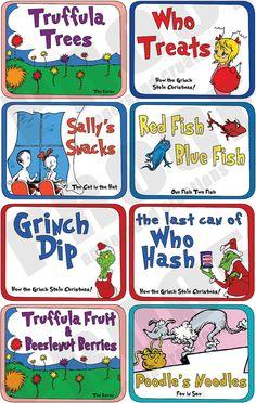Dr. Seuss Food Label Set Original Deluxe by AmpersandCreations