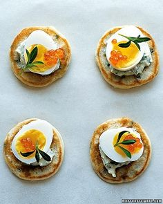Chive blini with creme fraiche, quail eggs, and tarragon - probably wouldn't use a quail egg, or any egg perhaps tomatoes, suggestions?