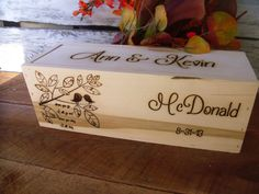 Rustic Wedding Wine Box with Two Love Birds by willowroaddesigns, $59.00