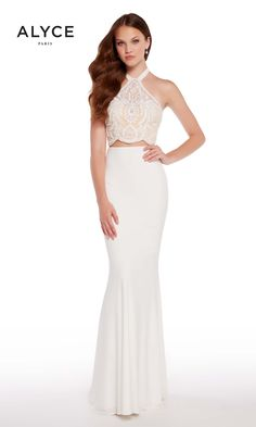 bb366d1ec496 Look like modern royalty in Alyce 60021. This two piece features a halter  top that