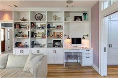 Love this idea of pairing a book shelf & desk - Historical Bungalow House Tour - Its Overflowing