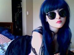 Dat's my hair color yo Long Curly Hair, Curly Hair Styles, Hair Inspo, Hair Inspiration, Dark Blue Hair, Deep Blue, Scene Hair, Emo Scene, Coloured Hair