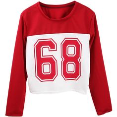 Loose Numbers-printed Cropped Sweatshirt (€15) found on Polyvore featuring women's fashion, tops, hoodies, sweatshirts, sweaters, shirts, sweaters/sweatshirts, loose fit shirt, loose fitting crop top and red crop shirt