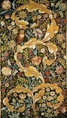Owl, John Henry Dearle, Morris and Co. Photograph real leaves, flowers, feathers against contrasting background. Lighting  effect v important to create depth