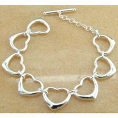 Classic Heart Shaped Silver Bracelets for Lovers