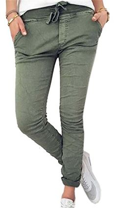 07e25b39695a Domple Womens Cargo Pants High Rise Drawstring Pockets Ankle Length Skinny  Joggers