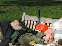 Durmiendo en St. James Park, Londres.