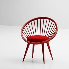 YNGVE EXSTRöM SWEDEN RED CIRCLE CHAIR   Fantastic red circle chair designed by Yngve Ekstrom for Swedese, Sweden 1960. The chair is made of red lacquered beech wood