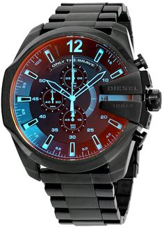 c346e5f2508e New Diesel Mega Chief Black Ion-plated Stainless Steel Mens Watch