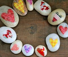 Love Rocks : modge podge + various fabric hearts.  Write a message on the back.  When dry put them in a Love Rocks! bag.