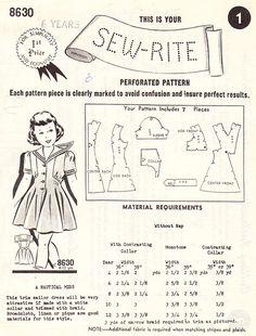 Vintage 1940s Nautical Or Sailor Dress For par BettieJoVintage
