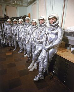 "58 years ago today, on April 9, 1959, NASA announced the first seven astronauts that would become known as the ""Mercury Seven"" for Project Mercury. Pictured here from right to left are the astronauts:..."