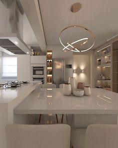 Luxury Kitchen Design, Kitchen Room Design, Home Room Design, Dream Home Design, Home Decor Kitchen, Modern House Design, Modern Interior Design, Interior Design Kitchen, Interior Decorating